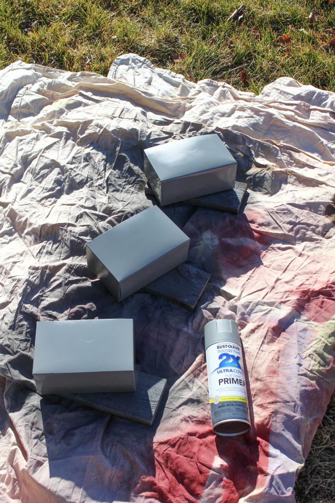 faux galvanized boxes