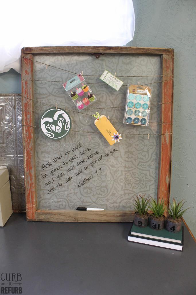 antique window becomes memo board