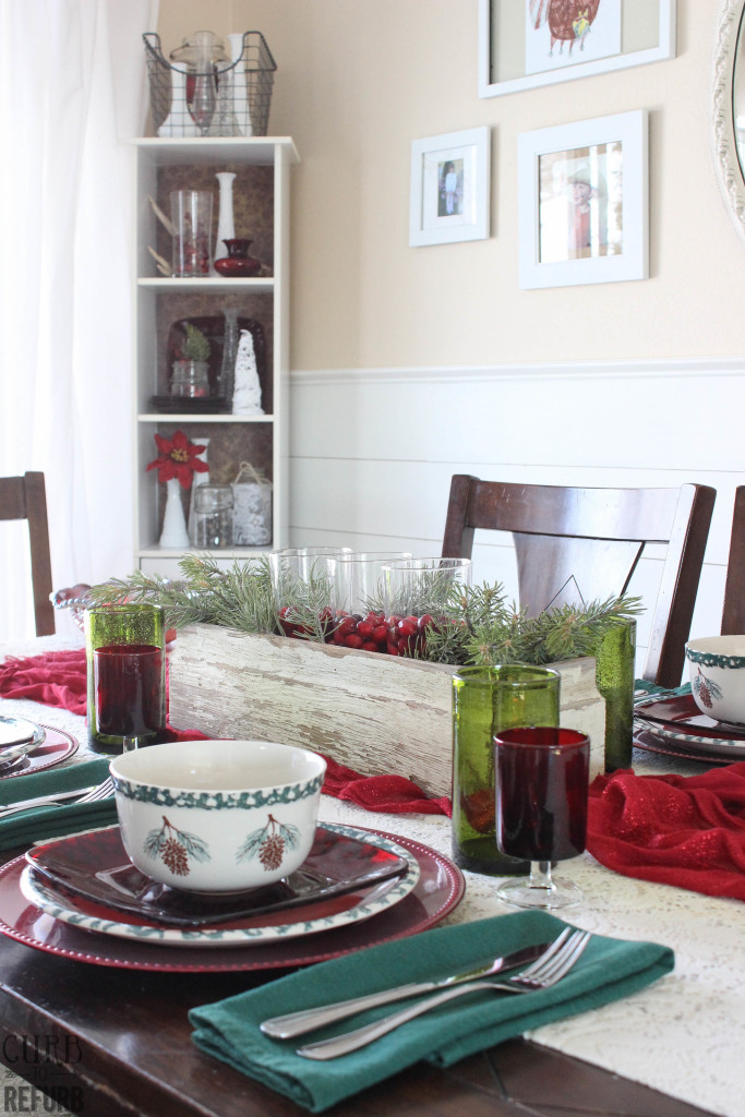 red and green christmas tablescape