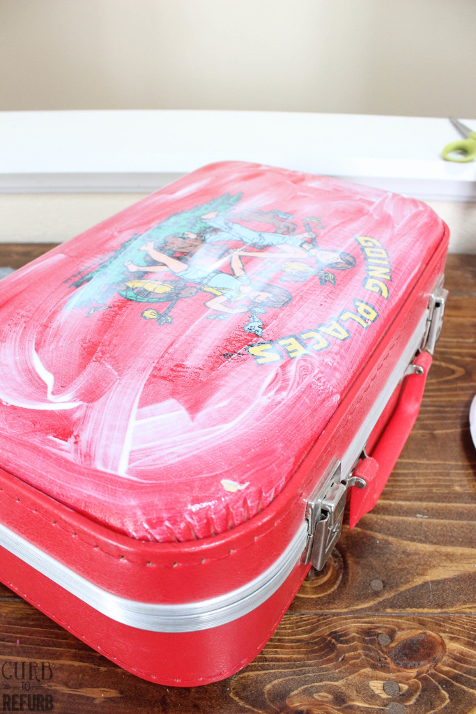 suitcase cover using mod podge