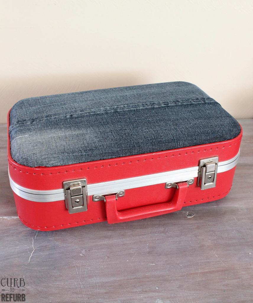 denim covered suitcase