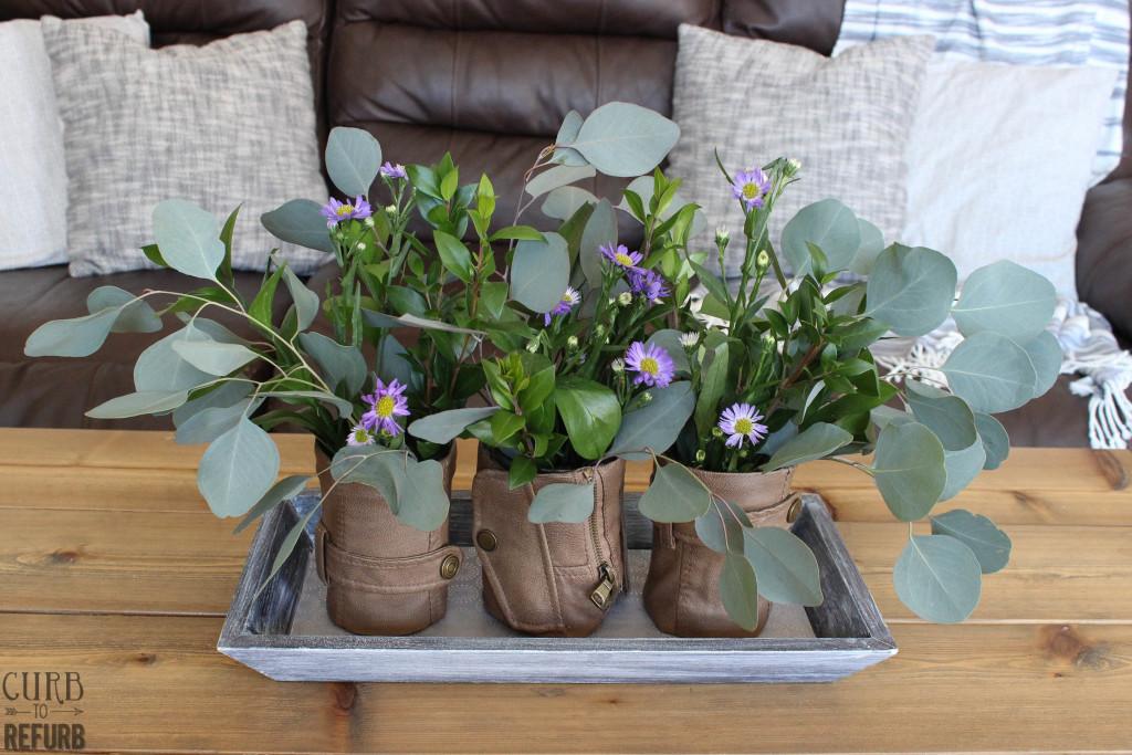 DIY flower vases using leather
