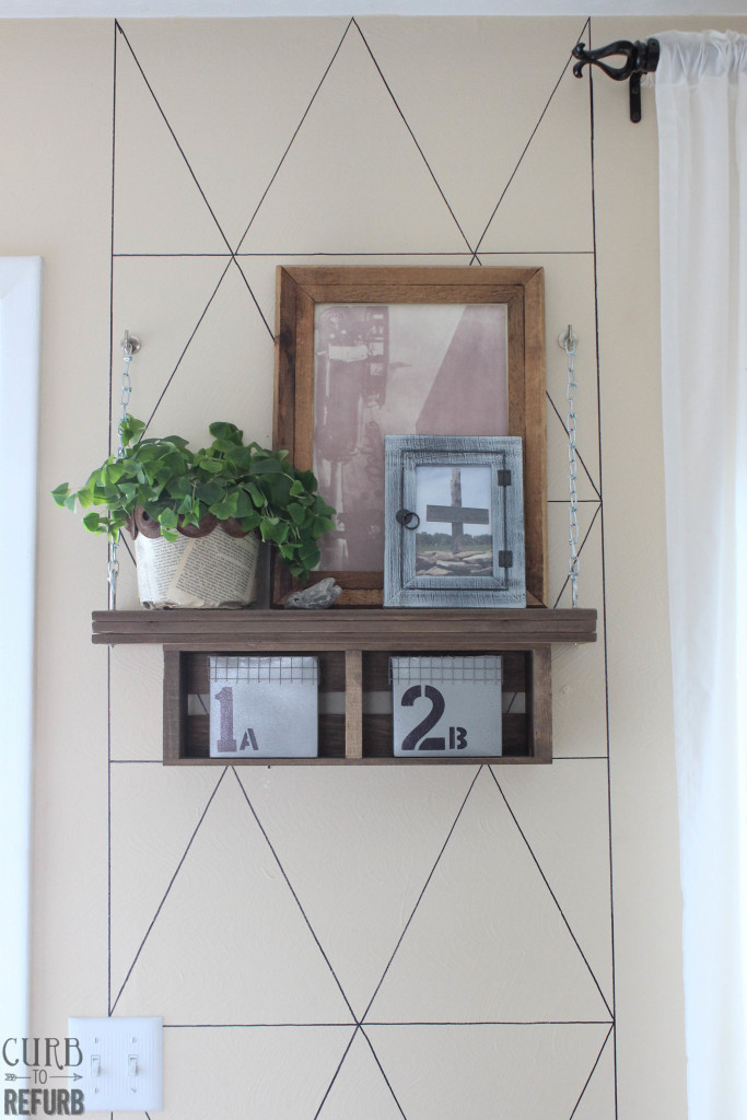 flower pot on living room shelf