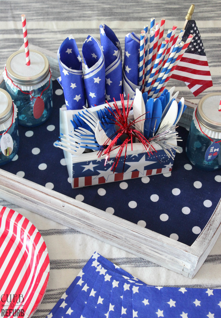 patriotic table using a drawer