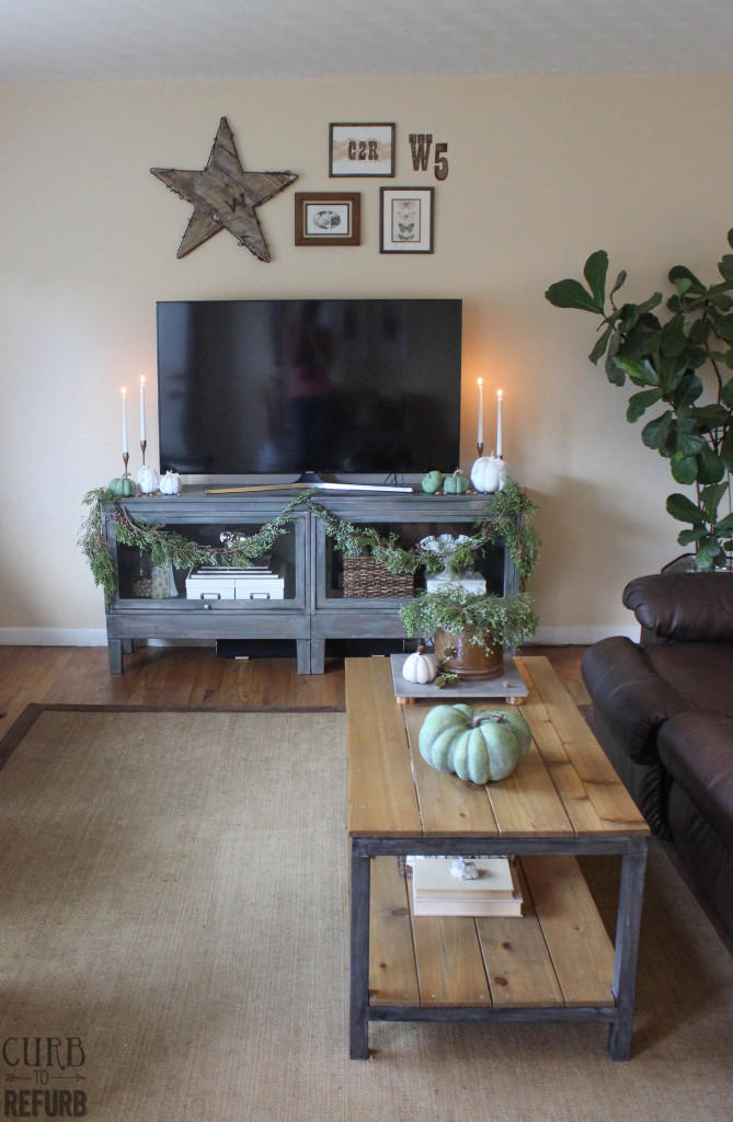 neutral fall decorating and juniper garland