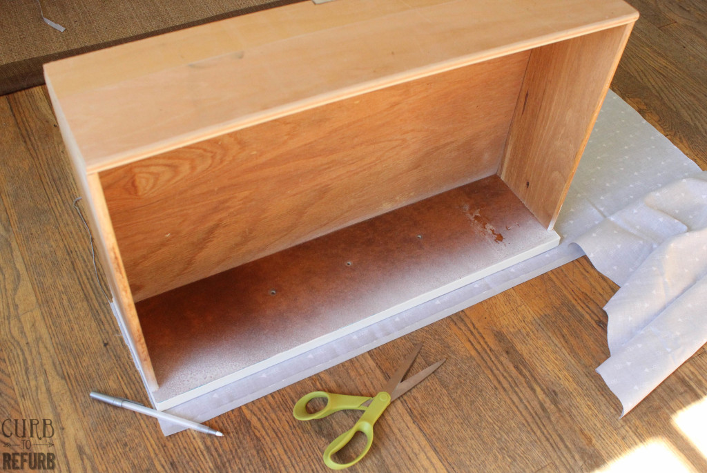 fabric covered dresser drawer