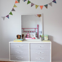 Dresser Makeover With Fabric Covered Drawers